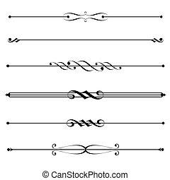 Vector set of decorative divider, elements, border