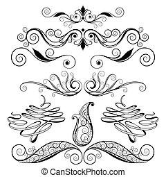 Decorative Floral Design Elements, editable vector illustration