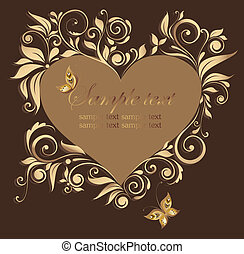 Decorative floral frame with heart shape