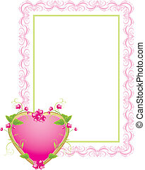 Decorative frame with floral heart