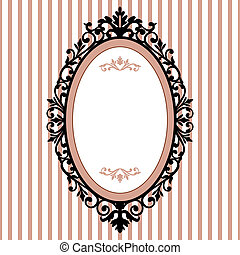 Decorative oval frame on the pink background with space for your text