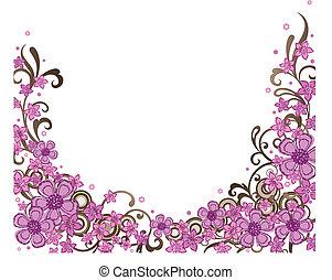 Decorative pink floral border vector illustration