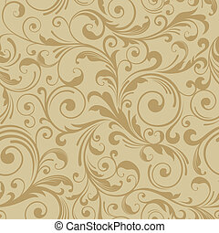 floral seamless gold pattern background