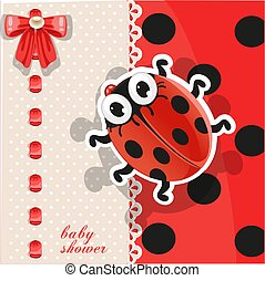 Delicate red baby shower card