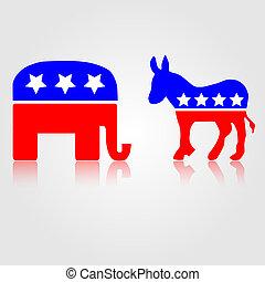 Democratic and Republican Political Symbols