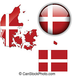 Denmark flag, map and glossy button, vector illustration set.