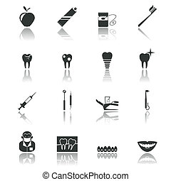 Dental health and caries teeth healthcare instruments dent protection black icons set isolated vector illustration