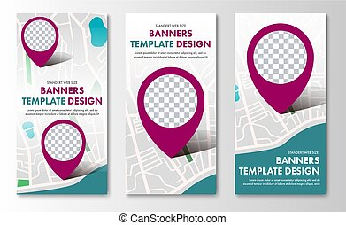 Design of vertical web banners with map and pointer.