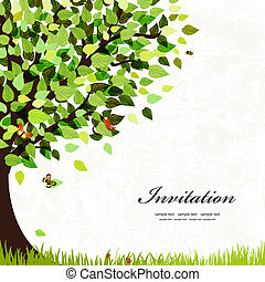 Design postcard with a tree