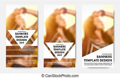 Design vertical web banners with triangular elements for text.