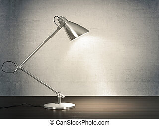 3D image of metal desk lamp on wooden desk next to the concrete wall.