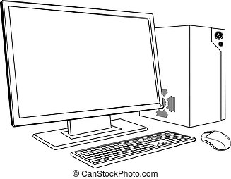 A black and white illustration of desktop PC computer workstation. Monitor, mouse keyboard and tower