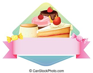 Banner template with different kind of dessert background