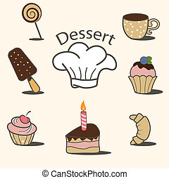 Vector dessert icon set
