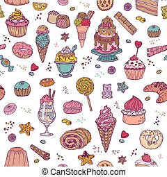 Desserts Background - Seamless Pattern - with Cakes, Sweets and Desserts - in vector
