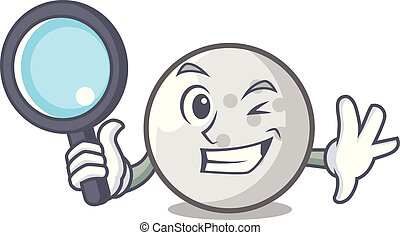 Detective golf ball character cartoon