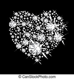 Diamond jewelery heart concept with black background and glittering jewels