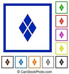 Diamond tile pattern flat framed icons