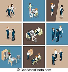 Different business situations in office. Businessman working with his team. Secretary at the table. Vector isometric illustrations set