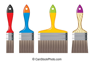 different size of colour brushes - vector illustration