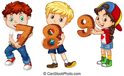Different three kids holding math number