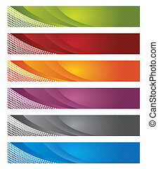 Digital banners in gradient and lines vector illustration