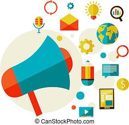 Digital marketing concept in a flat style design modern vector illustration. Set of flat design concept icons.