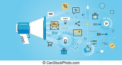 Flat line design website banner of digital marketing. Modern vector illustration for web design, marketing and print material.