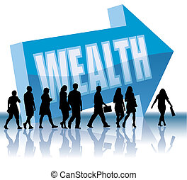 People are going to a direction - Wealth, vector illustration.