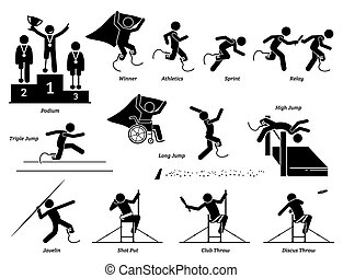 Disabled field and track sports games for handicapped athlete stick figures icons.