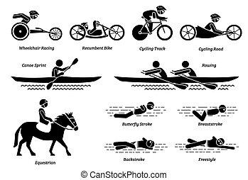 Disabled racing sports and games for handicapped athlete stick figures icons.
