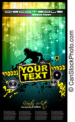 Disco Event Poster with a Disk Jockey remixing two disks with a waterfall of glitters lghts on the back and space for your music text and details.