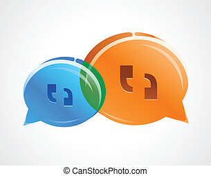 Two talk bubbles overlapping represent a converstion