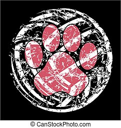 distressed volleyball with paw print