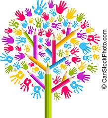 Isolated diversity education concept tree hands illustration. Vector file layered for easy manipulation and custom coloring.