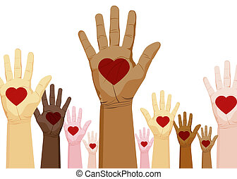 An image of a diverse set of hands with heart.