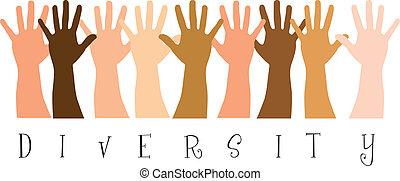 diversitty hands over white background. vector illustration