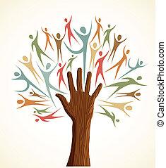 Diversity human hand tree set