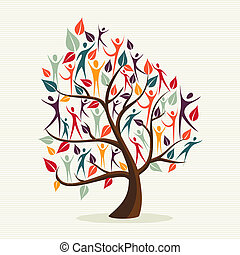 Family human shapes colorful leaf conceptual tree. Vector file layered for easy manipulation and custom coloring.