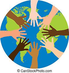 diversity over world over white background. vector illustration
