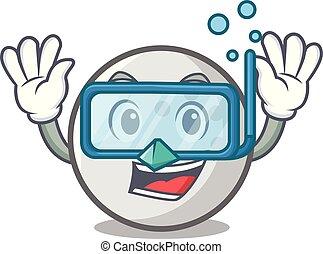 Diving golf ball character cartoon