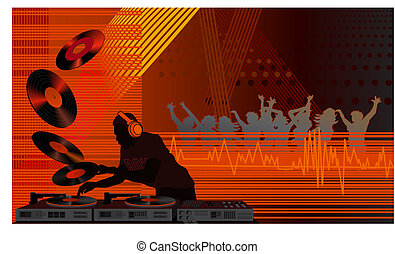 Illustration with a dj and people dancing in the club