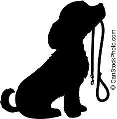 A black silhouette of a sitting dog holding it's leash in it's mouth, patiently waiting to go for a walk.