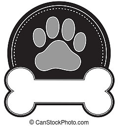 A dog pawprint and dog bone with room for text in a circular design