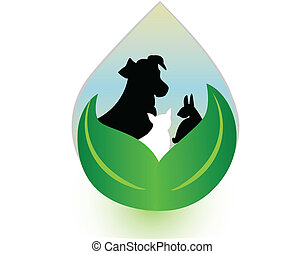 Dog Cat and Rabbit in water drop