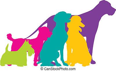 A group of five dogs, a Scottie, Mixed, German Pointer, Poodle and Great Dane are silhouetted in a variety of bright colours.