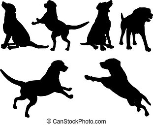 Various dog silhouettes