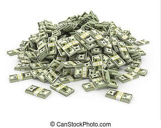 Dollars. Pile from packs of money