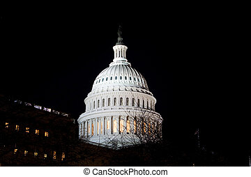 Dome US Capitol Building Night Washington DC USA