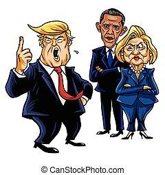 Donald Trump, Hillary Clinton, and Barack Obama. Cartoon Caricature Vector Illustration. September 28, 2017